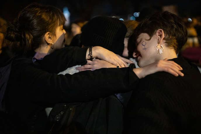Le 23 novembre 2019 à Paris. Manifestation contre les violences aux femmes à l'appel du collectif féministe #Noustoutes et de nombreuses associations.