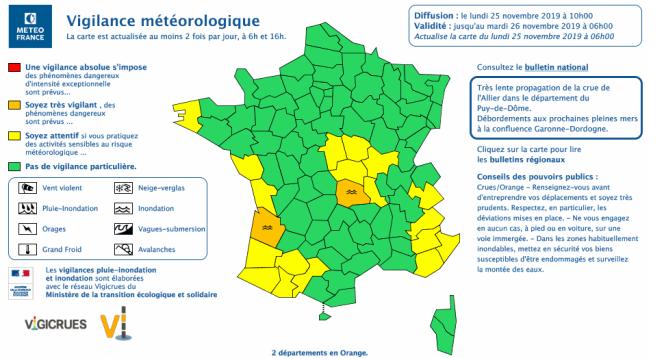 Bulletin de Météo-France à 10 heures, lundi 25 novembre.