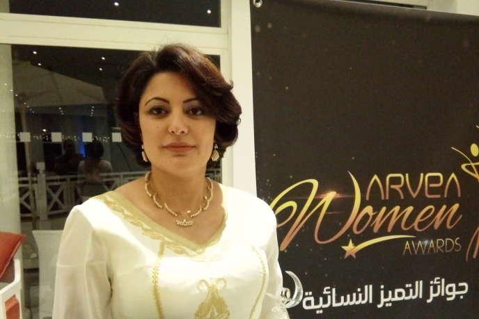 La chercheuse tunisienne Rym Kefi lors de la remise de l'Arvea Woman Award, en décembre 2018.