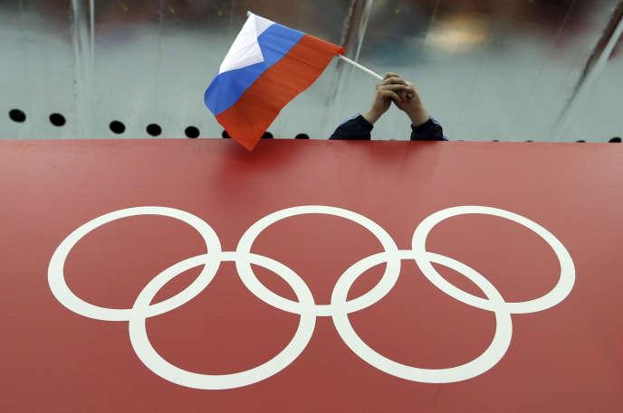 Un drapeau russe lors des Jeux olympiques d'hiver de Sotchi, en 2014.
