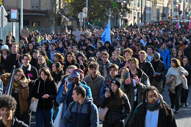 «Ces constats sur l'évolution de la situation matérielle des étudiants nous alertent concernant l'urgence et l'importance de trouver les moyens de garantir le droit pour toutes et pour tous de suivre des études supérieures. » (Photo: manifestation étudiante à Lyon, le 12 novembre.)