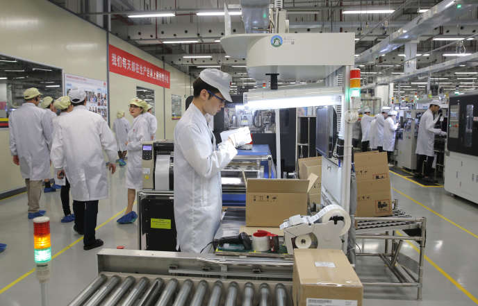 Une usine Huawei dans la province du Guangdong, en Chine, en mars.
