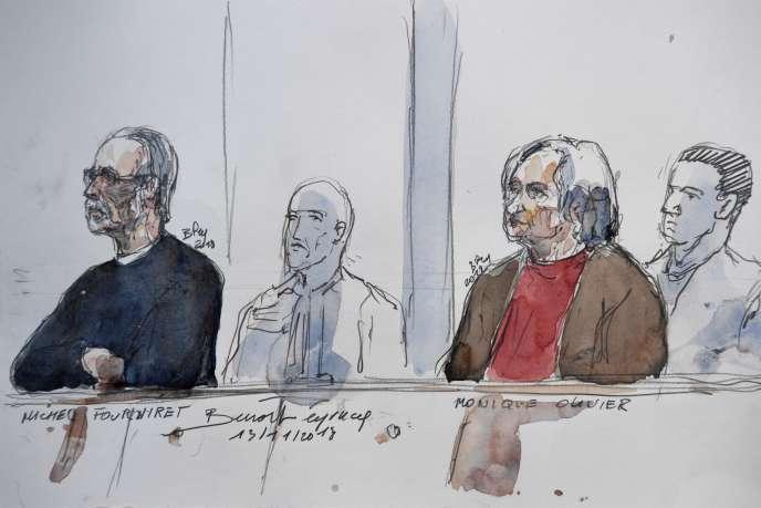 Michel Fourniret et son ex-épouse Monique Olivier à la cour d'assises des Yvelines à Versailles, ennovembre 2018.
