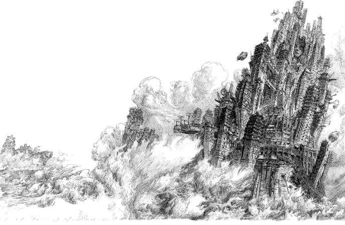 L'illustration originale de Laurent Gapaillard pour la couverture de«La Tempête des échos».