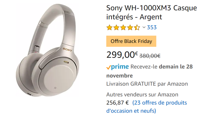 Une recherche sur Amazon fait apparaître une prétendue promotion de «Black Friday». En réalité, le prix n'a pas changé depuis plusieurs semaines.