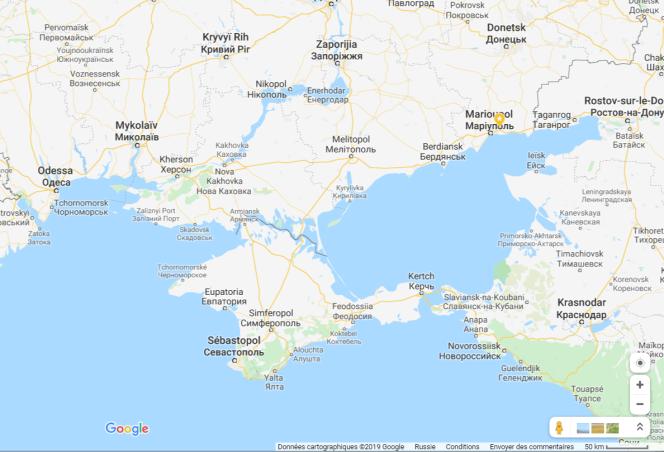 La Crimée vue depuis la Russie, par Google Maps. Frontière