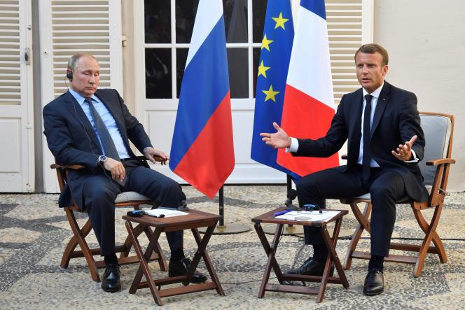 Vladimir Poutine et Emmanuel Macron au fort Brégancon, le 29 août 2019.