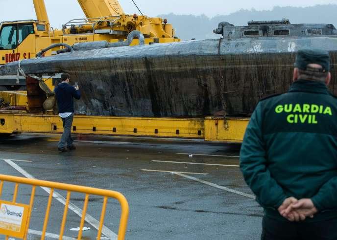 Le sous-marin ayant servi à transporter de la cocaïne à Aldan, au nord de l'Espagne, le 27 novembre.