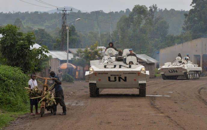 Des blindés de la Monusco à Kiwanja, dans la province du Nord-Kivu, dans l'est de la RDC, en octobre 2018.