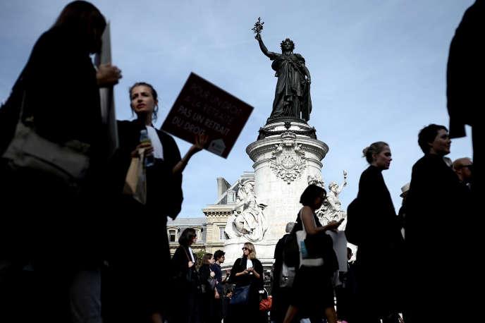 Manifestation contre la réforme des retraites, place de la République à Paris, le 16 septembre.