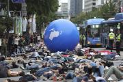 Manifestation d'un collectif d'activistes environnementaux à Séoul, le 21 septembre 2019.