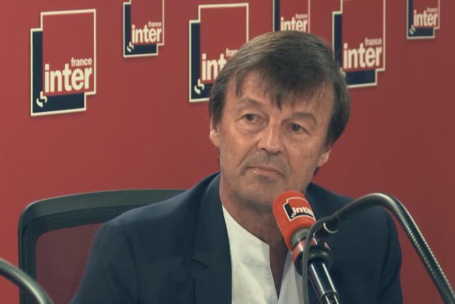 Nicolas Hulot, lors de l'annonce de sa démission du gouvernement, sur France Inter, le 28 août 2018.