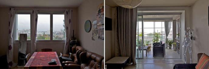 Avant et après : intérieur de l'un des logements du quartier du Grand Parc à Bordeaux.