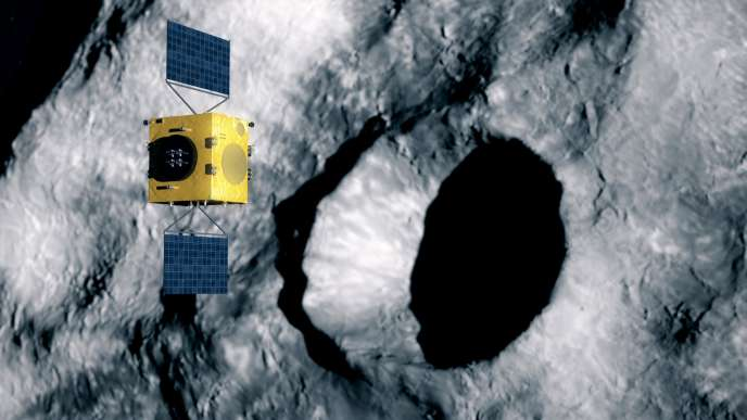 Vue d'artiste de la sonde Hera, qui ira mesurer les effets de l'impact du satellite américain DART sur la lune de l'astéroïde Didymos.