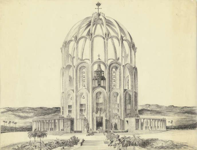 Clemens Holzmeister, projet pour la cathédrale de Belo Horizonte, 1942, 1948 et 1950.