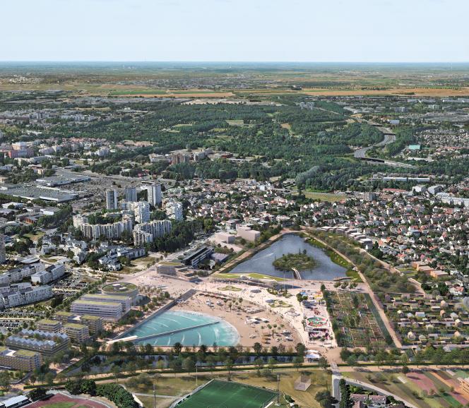 Vue aérienne du projet Terre d'eaux, à Sevran (Seine-Saint-Denis).
