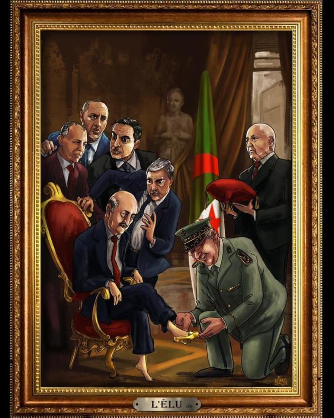 Le dessin « L'Elu», de Nime, montre les cinq candidats à l'élection présidentielle algéienne attendre leur tour pour essayer une chaussure tenue par le chef d'état-major de l'armée, Ahmed Gaïd Salah.