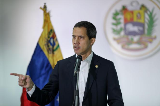 Juan Guaido, lors d'une conférence de presse à Caracas, au Venezuela, le 1er décembre 2019.