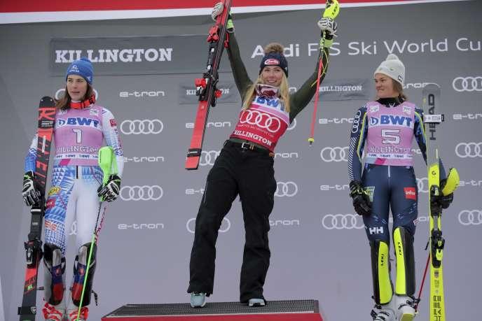 Mikaela Shiffrin s'est imposée devant la Tchèque Petra Vlhova et la Suédoise Anna Swenn Larsson, à Killington (Vermont), le 1er décembre.