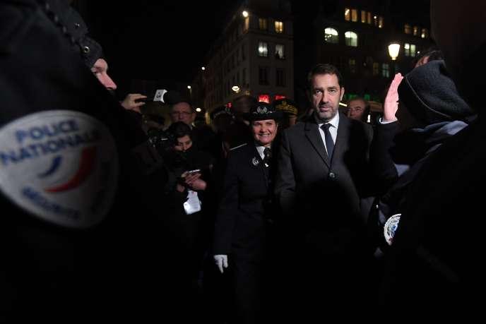 Le ministre de l'intérieur Christophe Castaner, à Strasbourg, le 22 novembre, un an après l'attentat commis par Cherif Chekattsur le marché de noël.