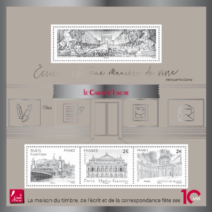 Bloc« argenté» vendu 10 euros (tirage 90000 exemplaires). Timbres Institut de France (2014) par C laude Andréotto, Opéra Garnier (2006) par Martin Mörck, Grand Palais (2008) par Claude Jumelet) et Avenue des Champs-Elysées (1995) par Jacques Jubert.
