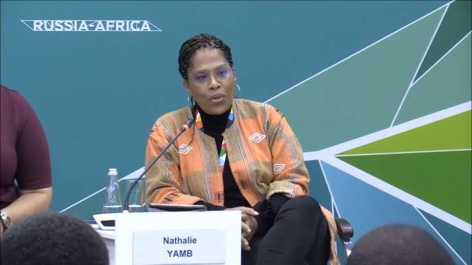 Nathalie Yamb lors du sommet Russie-Afrique à Sotchi, en octobre 2019.