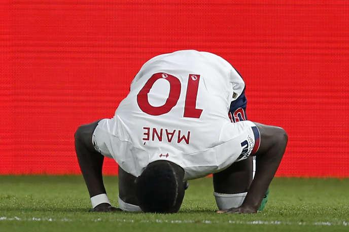 Le Sénégalais Sadio Mané, joueur du Liverpool FC, après avoir ouvert le score lors d'un match de Premier League contre Crystal Palace, à Londres, le 23novembre 2019.