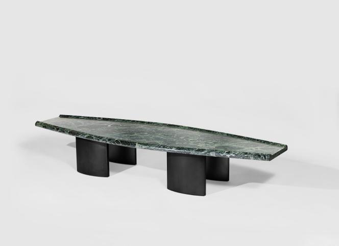 Table basse Crocodile en marbre et métal, collection Vivarium 2018, Jean-Baptiste Fastrez pour la galerie Kreo.