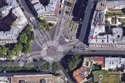 Vue sur la place circulaire, à l'intersection des boulevards de Picpus et de Reuilly (Paris 12e), qui pourrait devenir la place Sans-Nom.