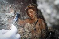 Mise à jour de la fresque« Leda et le cygne», mise en scène des ébats de la reine grecque Léda avec Zeus s'étant faitcygne.