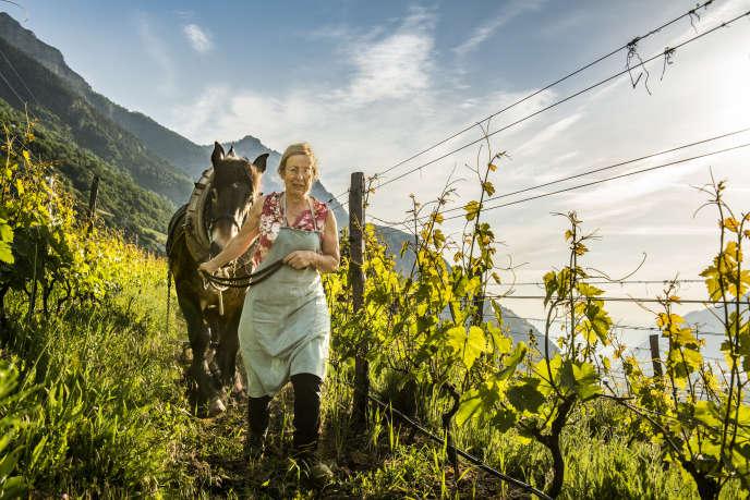 Marie-Thérèse Chappaz dans les vignobles du Valais, en Suisse.