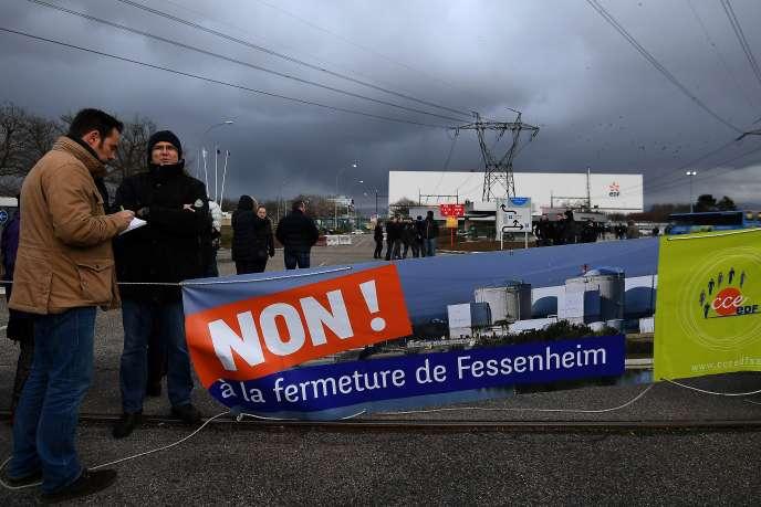 Manifestation contre la fermeture de la centrale nucléaire de Fessenheim, en janvier 2018.