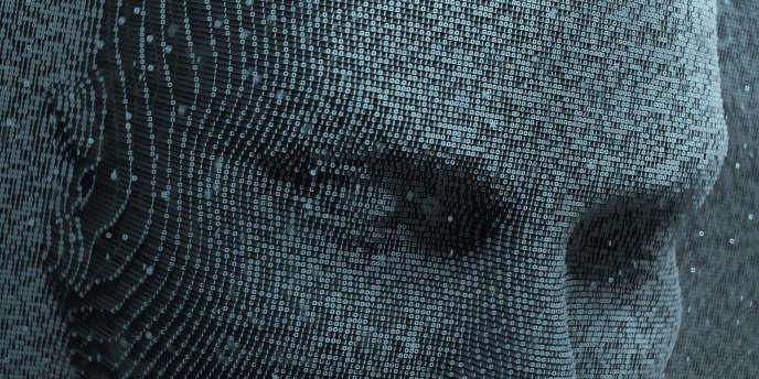 Visage humain en trois dimensions réalisé grâce à l'IA par les numéros du système binaire, langage de base de l'informatique et de l'électronique.