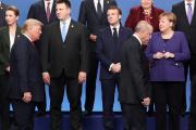 Les dirigeants des pays de l'OTAN, mercredi 4 décembre, à Watford, près de Londres.