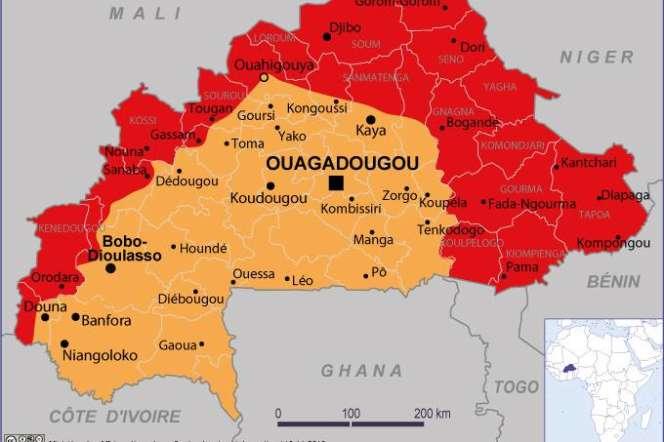 La carte de conseils aux voyageurs établie par le ministère français des affaires étrangères pour le Burkina Faso.