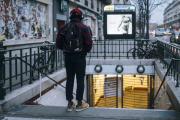 La station de métro Oberkampf fermée à l'occasion de la grève de la RATP, à Paris, le 5décembre.