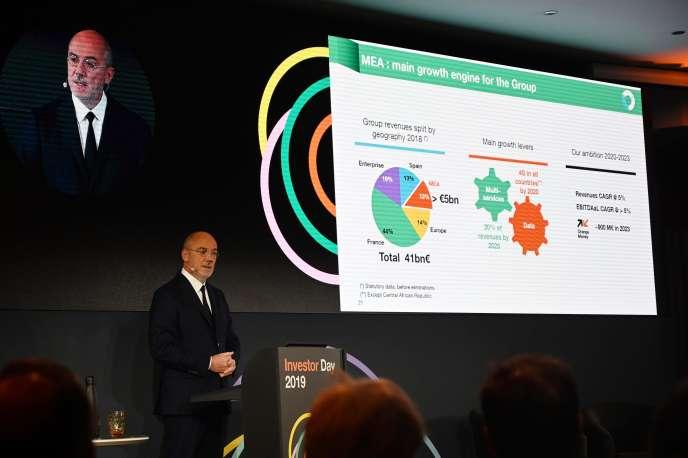 Le PDG d'Orange, Stéphane Richard, présente le plan« Engage 2025», à Paris, mercredi 4 décembre.