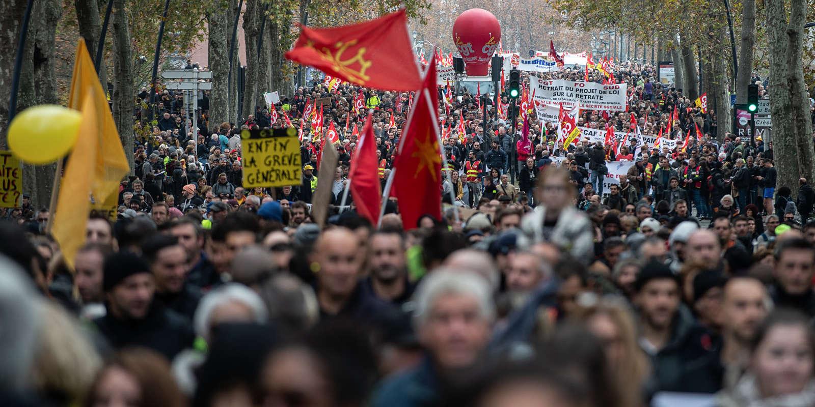Toulouse le 5 décembre 2019, manifestation contre la réforme des retraites.