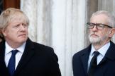 Boris Johnson et Jeremy Corbyn lors d'un hommage aux victimes de l'attentat du London Bridge à Londres, le 2 décembre.