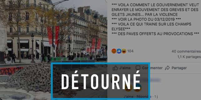 L'intox de la «montagne de pavés laissée par les autorités sur les Champs-Elysées»