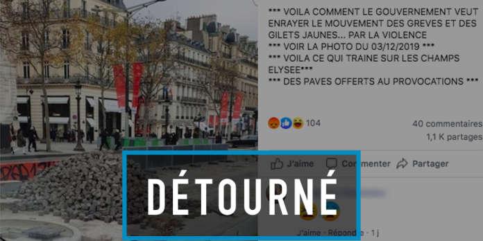 L'intox de la « montagne de pavés laissée par les autorités sur les Champs-Elysées »