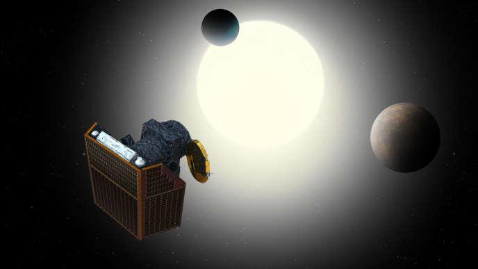 Vue d'artiste du satellite Cheops, avec des exoplanètes en arrière-plan.