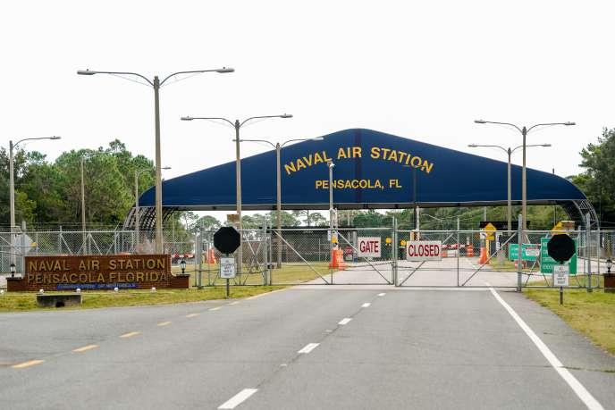 Vue sur la base militaire de Pensacola en Floride, où un Saoudien a ouvert le feu et tué trois personnes, vendredi 6 décembre.