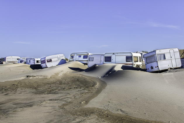 Bouches-du-Rhône, 2014. Vague de caravanes après la tempête.