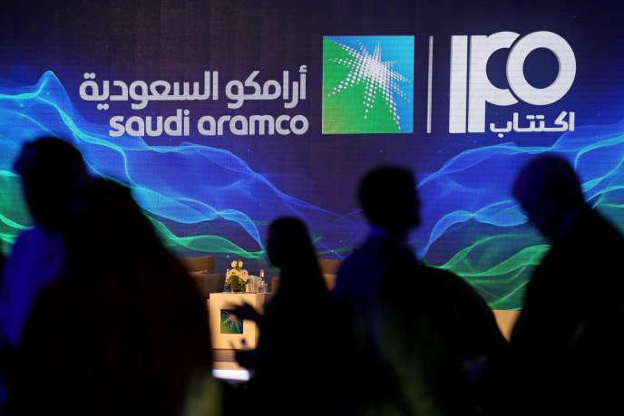 Lors d'une conférence de presse sur l'entrée en Bourse de Saudi Aramco, à Dhahran, en Arabie saoudite, le 3 novembre.
