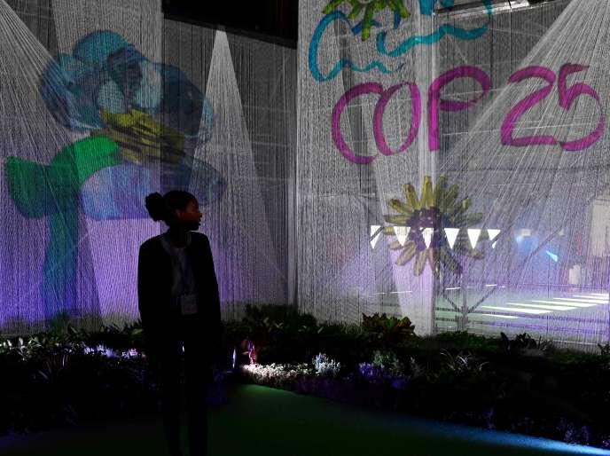 Une exposition dans le cadre de la COP25 à Madrid, le 3 décembre.