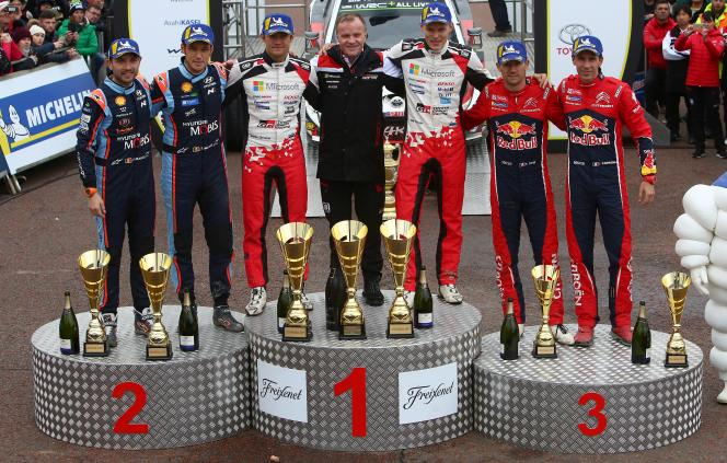 Le podium final de la saison 2019 de rallyes WRC.