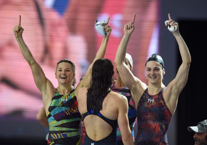 « Feel the magic in the air» pour l'équipe de France de 4*50m et Beryl Gastaldello (à droite)