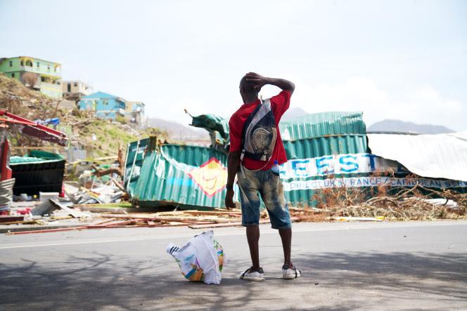 A Roseau, après le passage de l'ouragan Maria, en 2017.