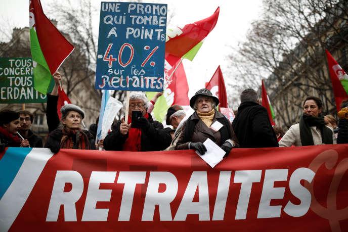 Manifestion contre la réforme des retraites, à Paris, le 5 décembre.